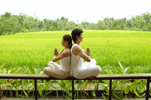 Couple Meditating at Spa