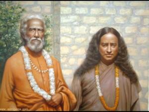 Paramahansa Yogananda impreuna cu maestrul sau Sri Yukteswar